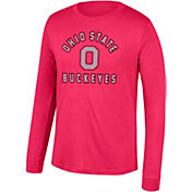 Scarlet & Gray Men's Ohio State Buckeyes Scarlet Heritage Tri-Blend Long Sleeve T-Shirt