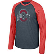 Scarlet & Gray Men's Ohio State Buckeyes Gray/Scarlet Long Sleeve Raglan Baseball T-Shirt