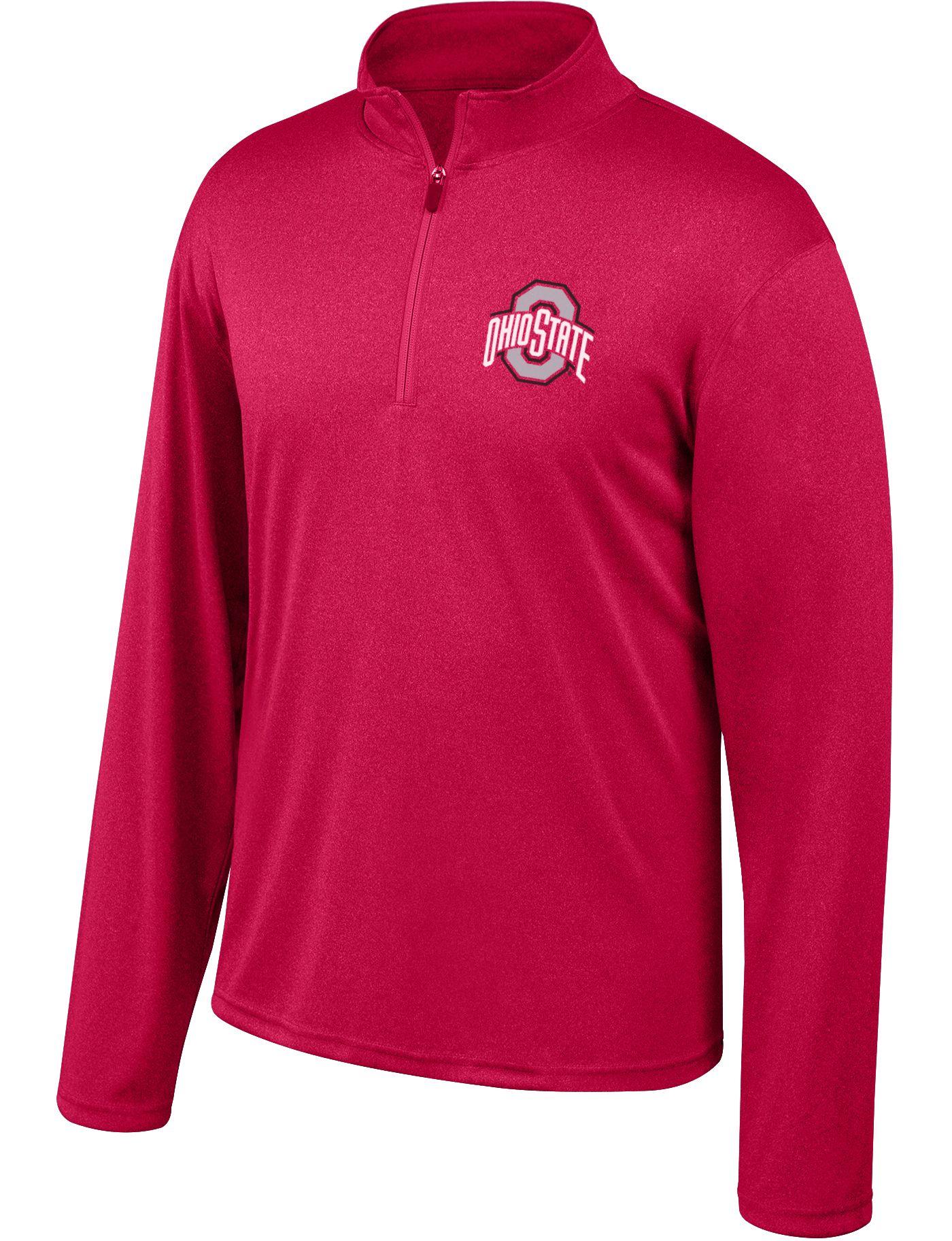 Scarlet & Gray Men's Ohio State Buckeyes Scarlet Quarter-Zip Shirt