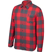 Scarlet & Gray Men's Ohio State Buckeyes Scarlet/Gray Run Around Button Down Flannel Long Sleeve Shirt