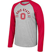 Scarlet & Gray Men's Ohio State Buckeyes Gray/Scarlet Heritage Raglan Long Sleeve T-Shirt