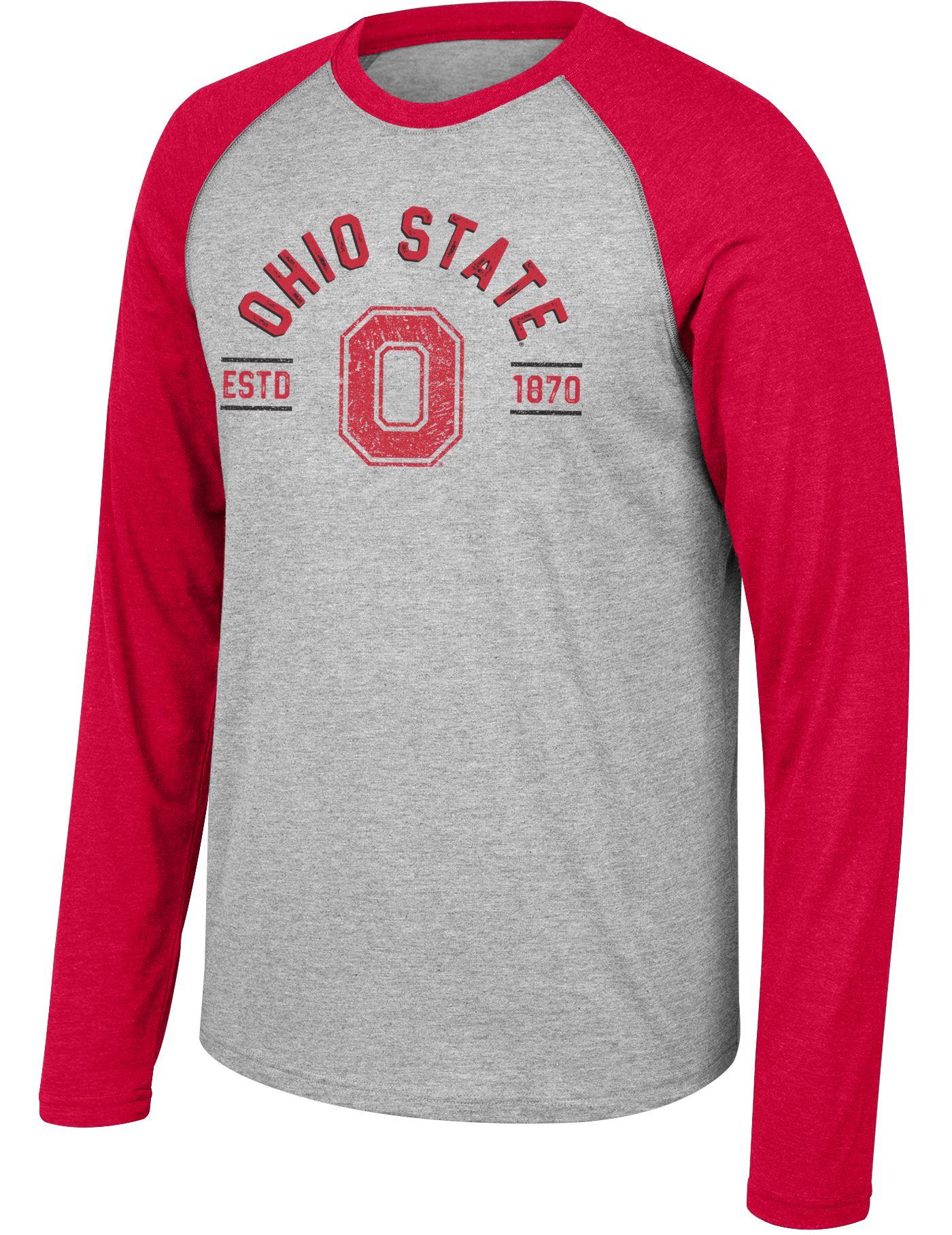 Scarlet & Gray Men's Ohio State Buckeyes Gray/Scarlet Heritage Raglan Long Sleeve T-Shirt