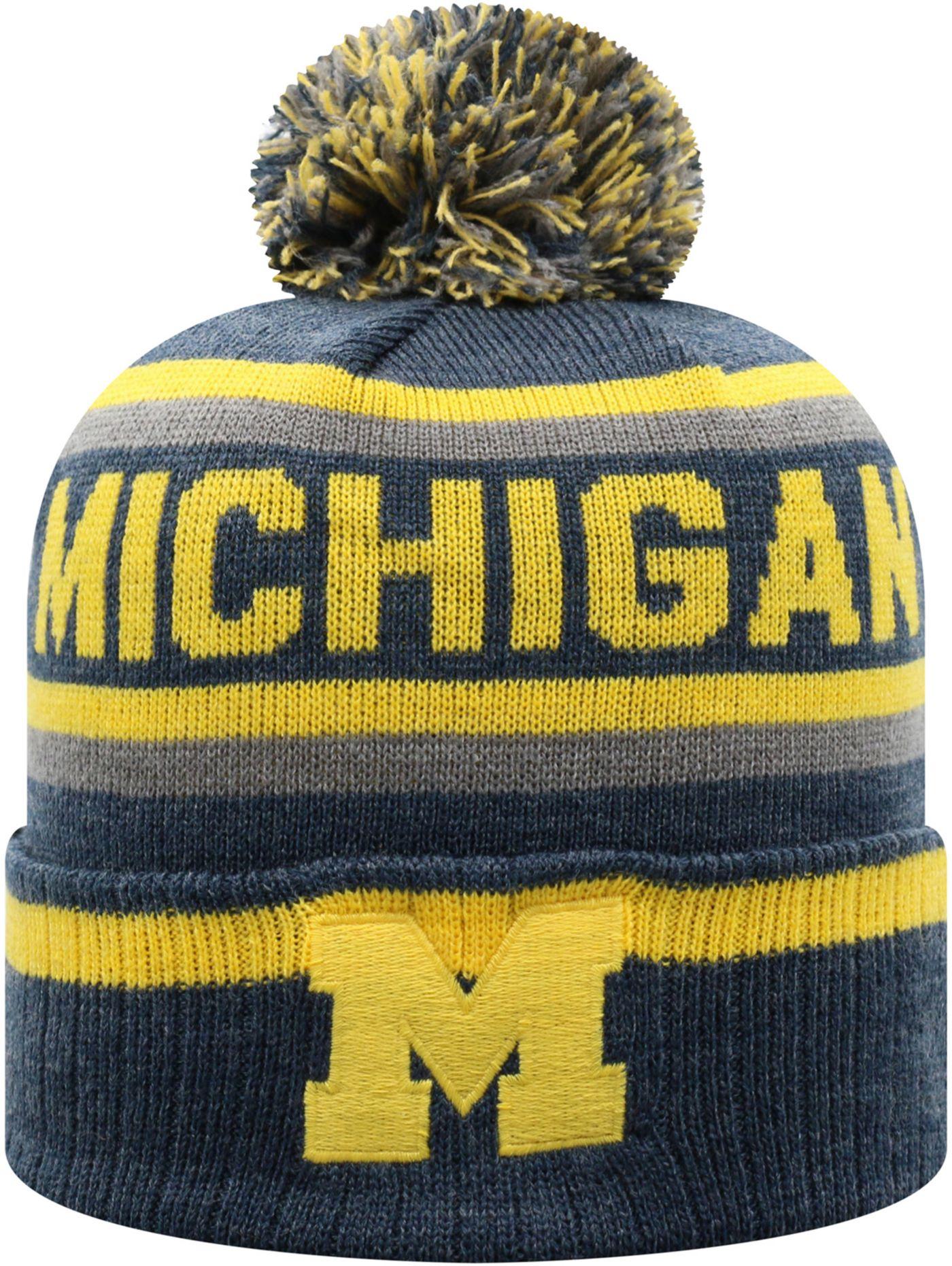 Top of the World Men's Michigan Wolverines Blue Buddy Cuffed Pom Knit Beanie