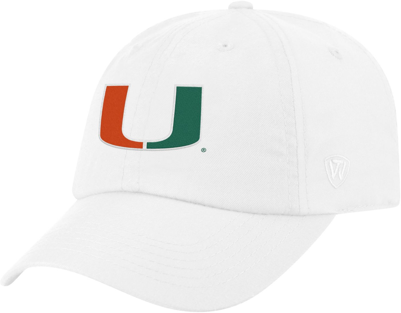 Top of the World Men's Miami Hurricanes Staple Adjustable White Hat