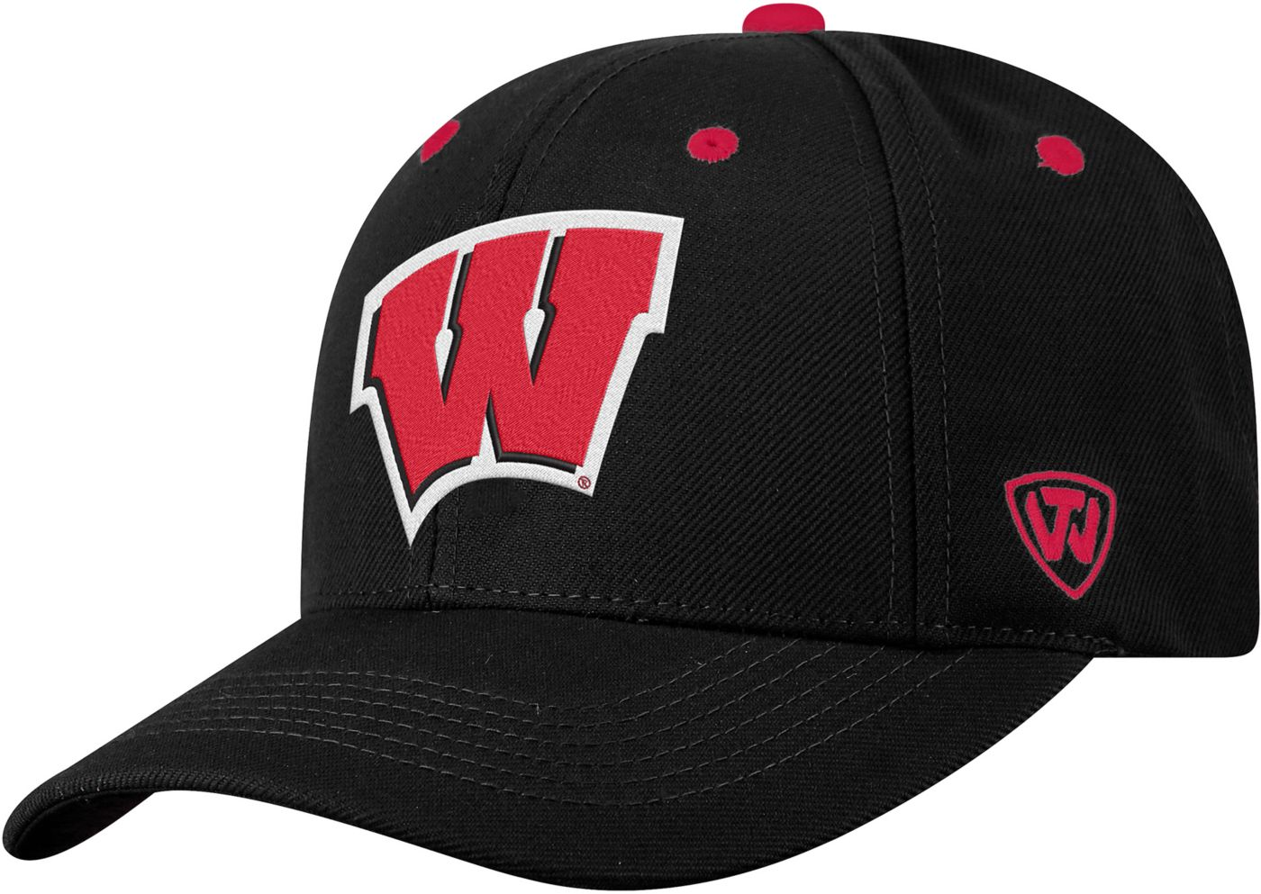 Top of the World Men's Wisconsin Badgers Triple Threat Adjustable Black Hat