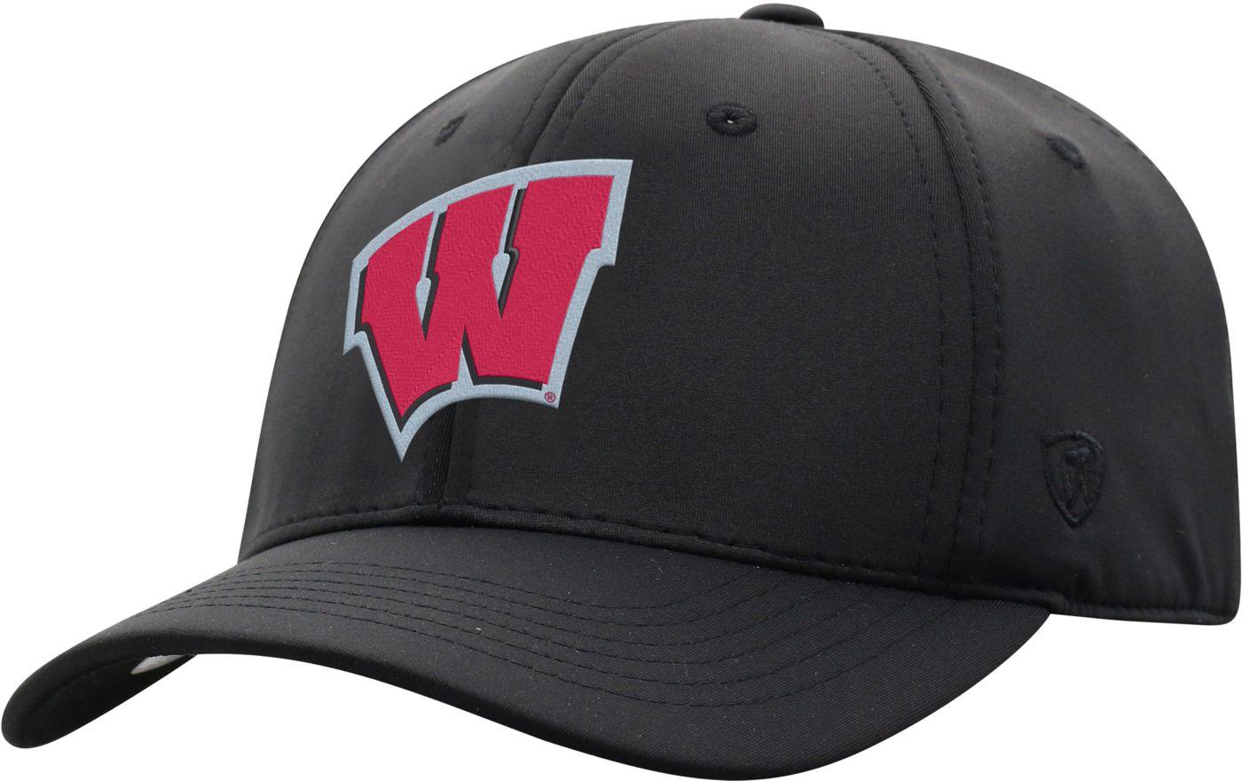 Top of the World Men's Wisconsin Badgers Phenom-Bob 1Fit Flex Black Hat