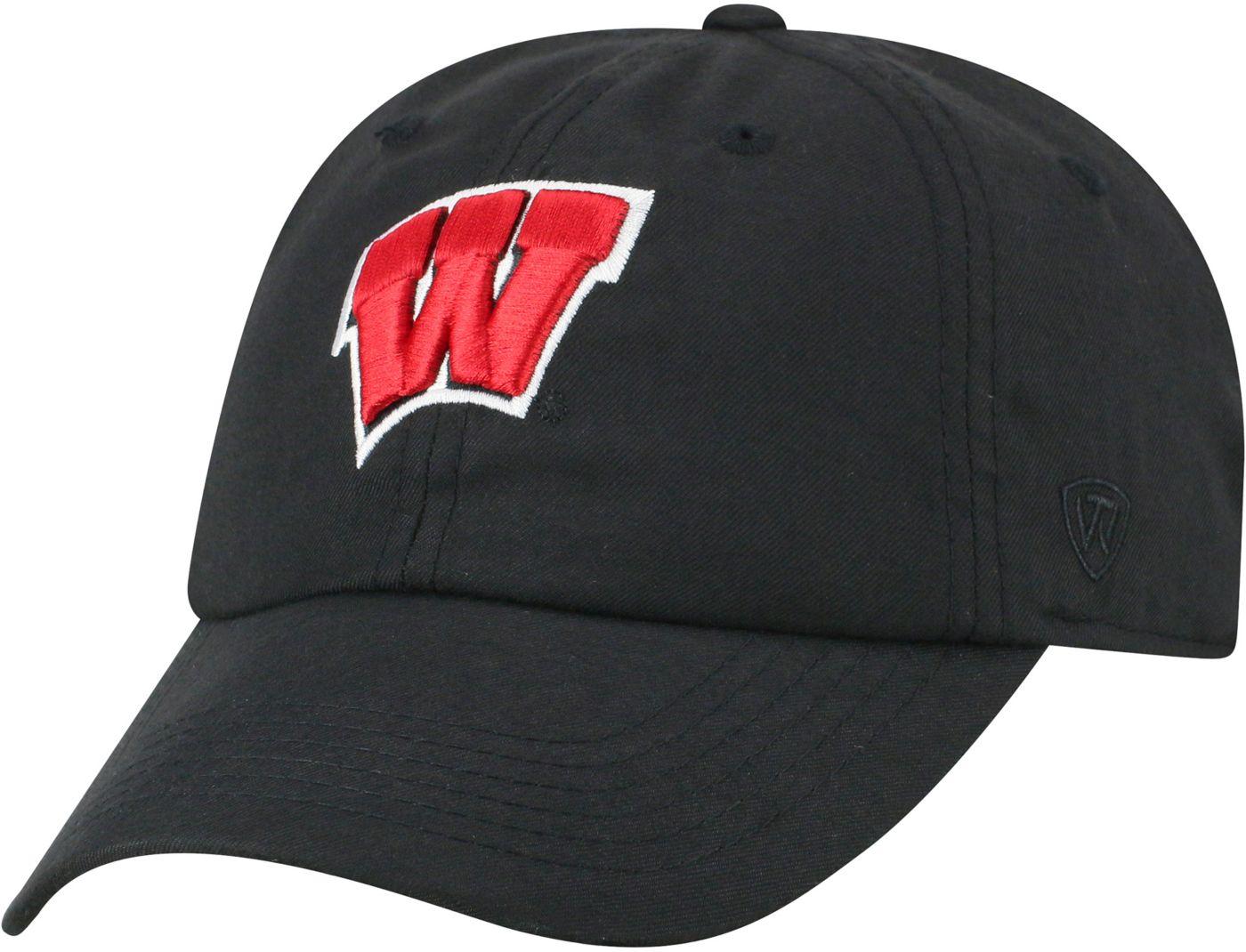 Top of the World Men's Wisconsin Badgers Staple Adjustable Black Hat