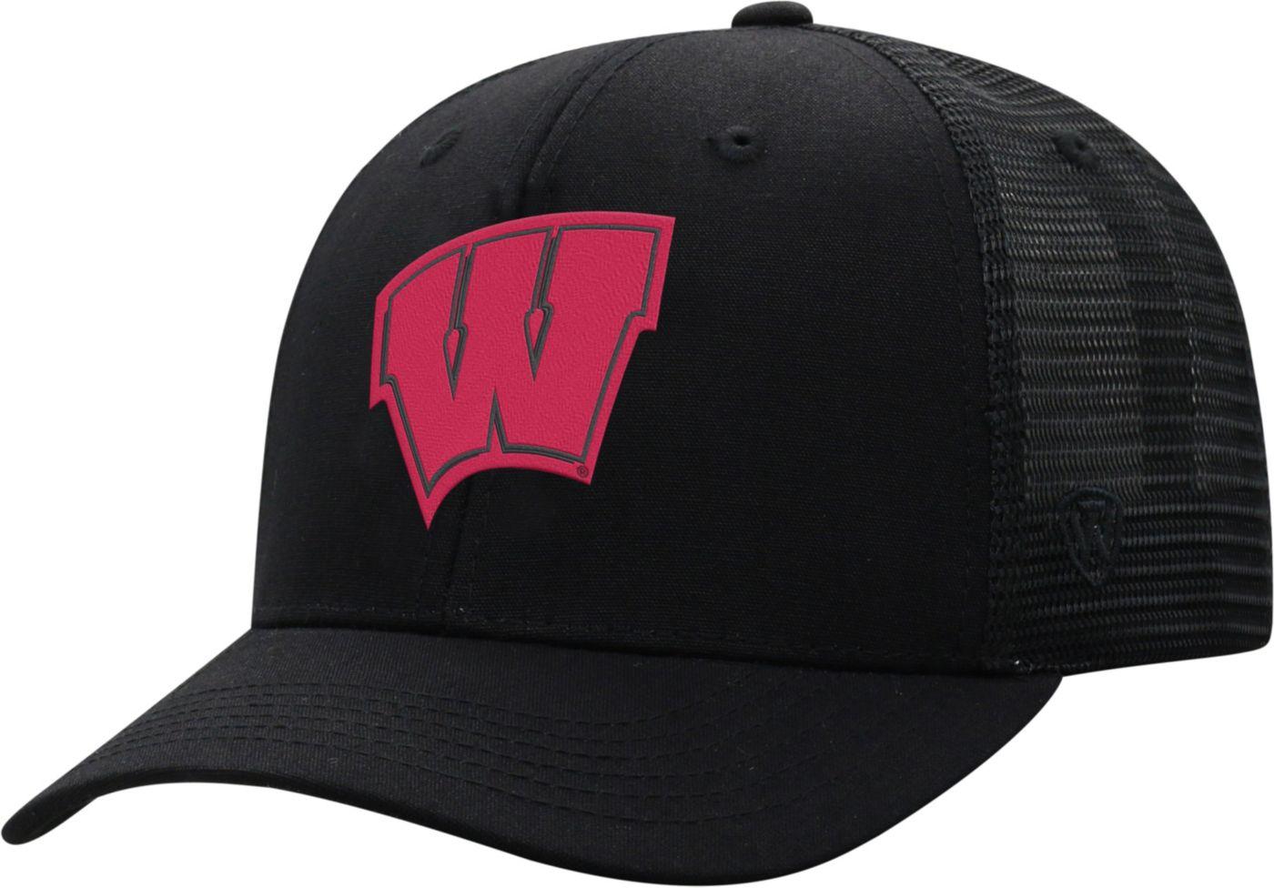 Top of the World Men's Wisconsin Badgers ZigZag Trucker Adjustable Black Hat