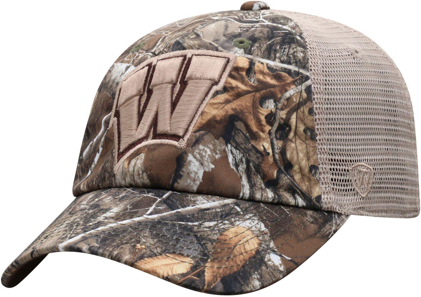 Top of the World Men's Wisconsin Badgers Camo Acorn Adjustable Hat