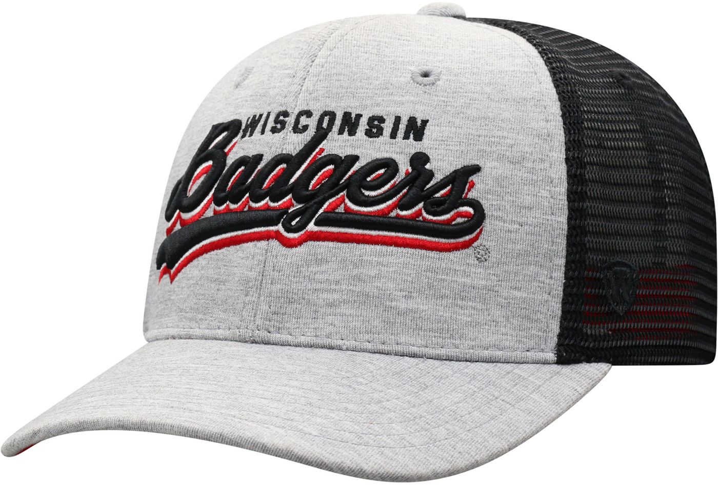Top of the World Men's Wisconsin Badgers Grey/Black Cutter Adjustable Hat