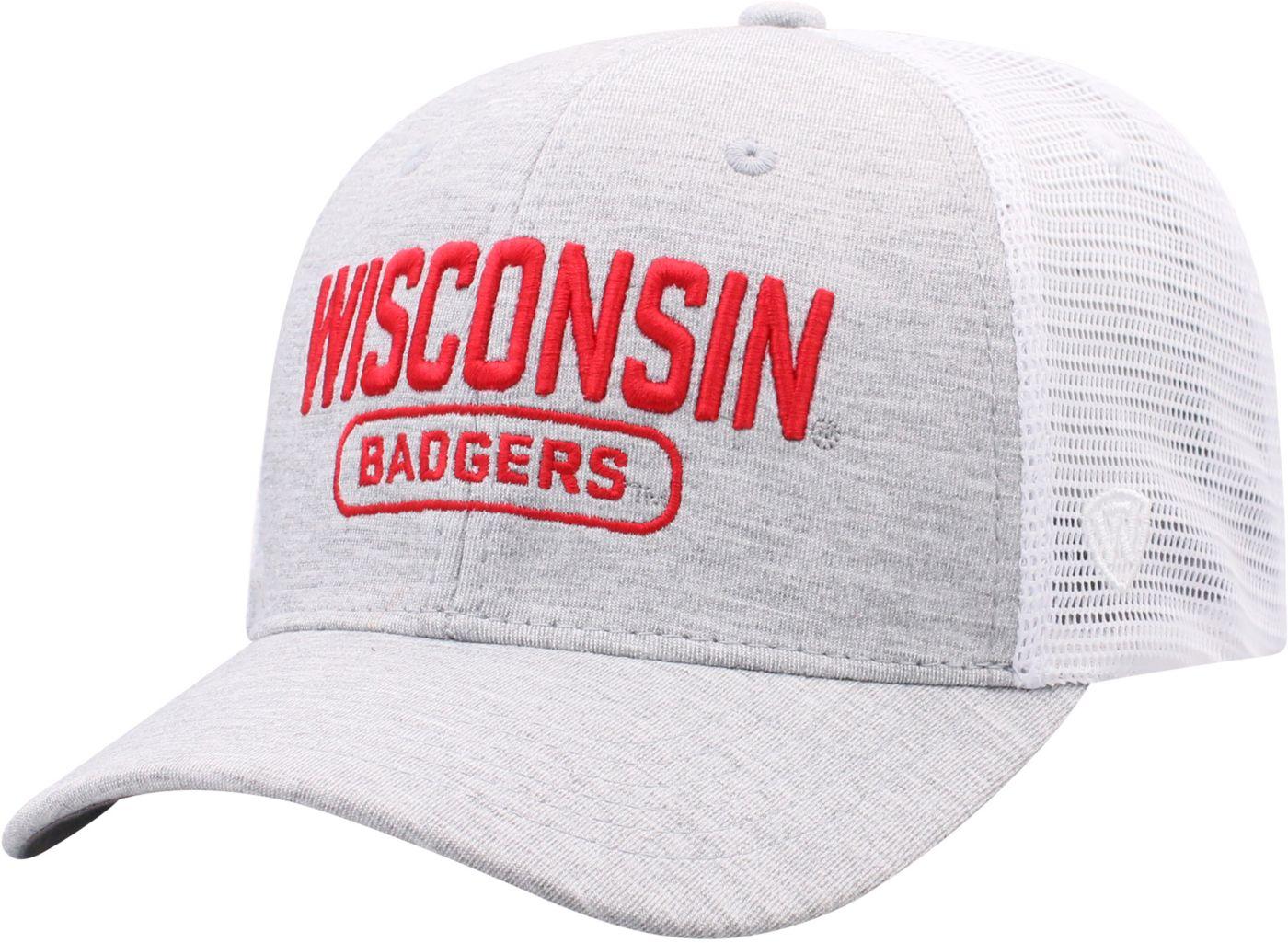 Top of the World Men's Wisconsin Badgers Grey Notch Adjustable Snapback Hat