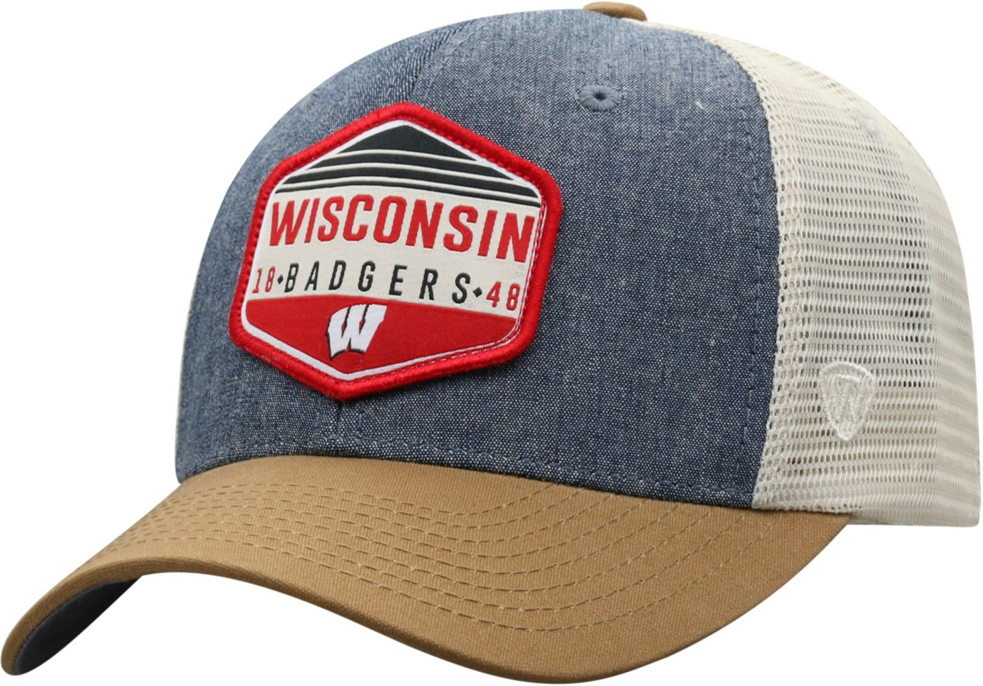 Top of the World Men's Wisconsin Badgers Grey/Brown/White Wild Adjustable Hat