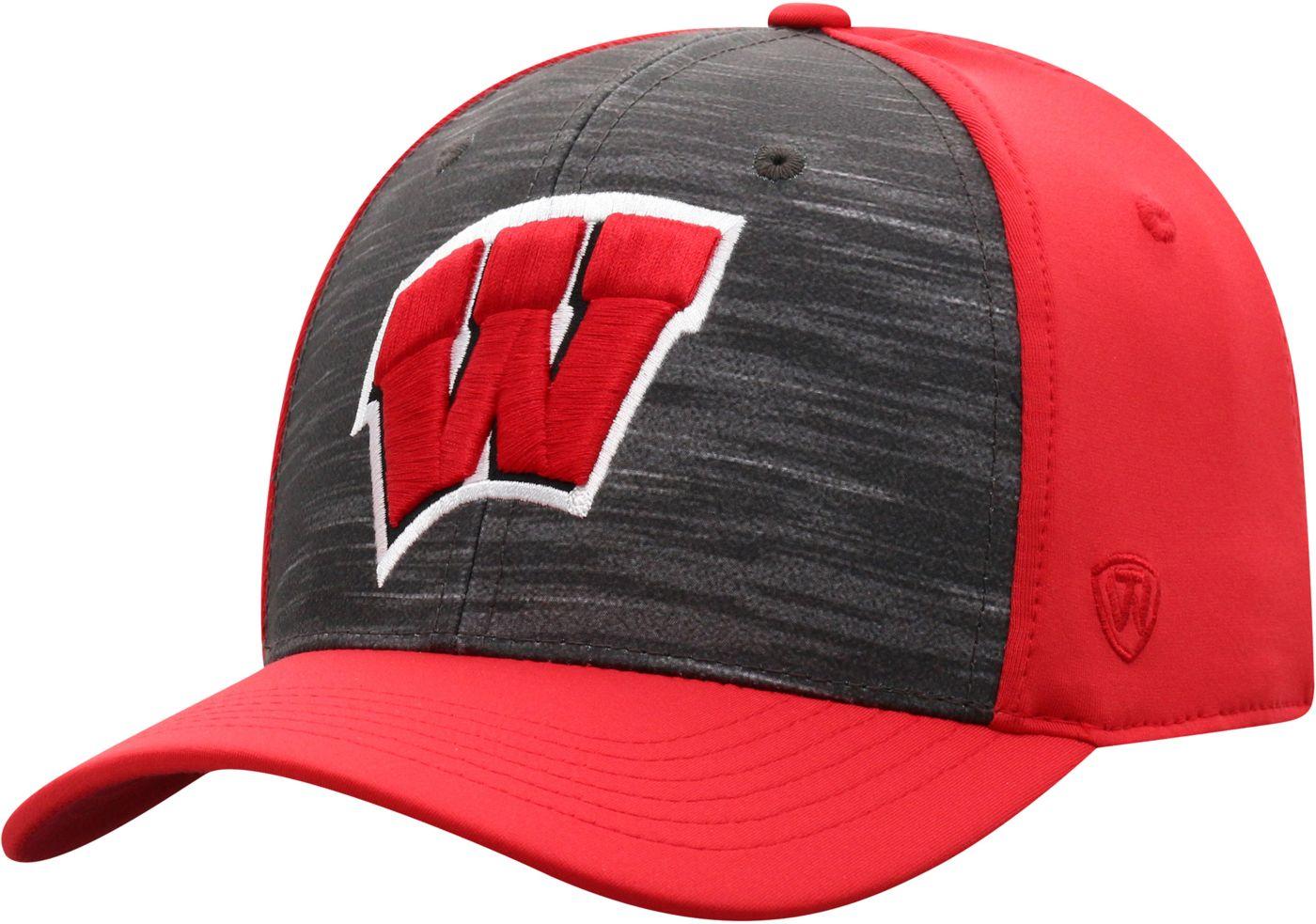 Top of the World Men's Wisconsin Badgers Grey/Red Pepper 1Fit Flex Hat