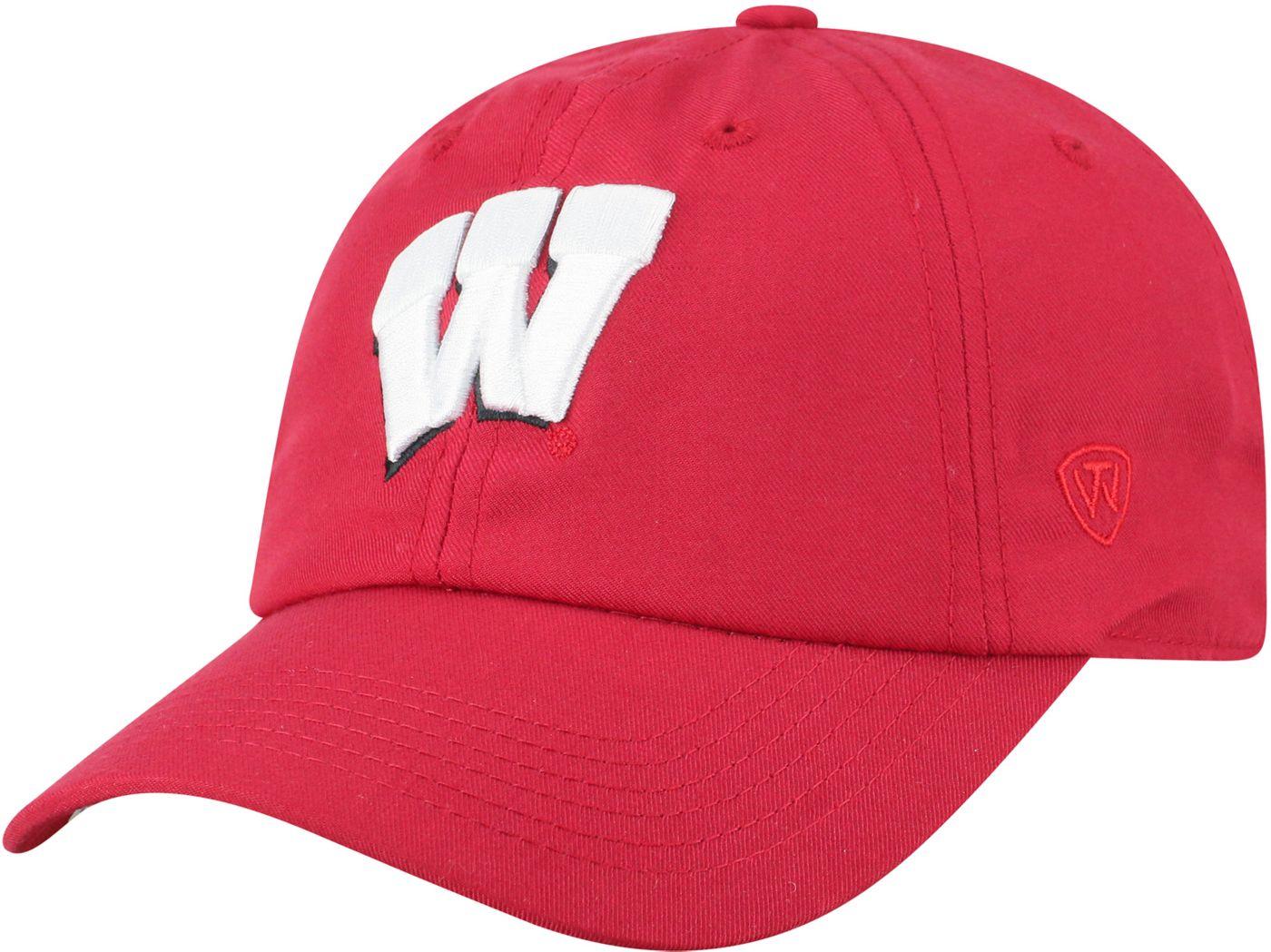 Top of the World Men's Wisconsin Badgers Red Staple Adjustable Hat