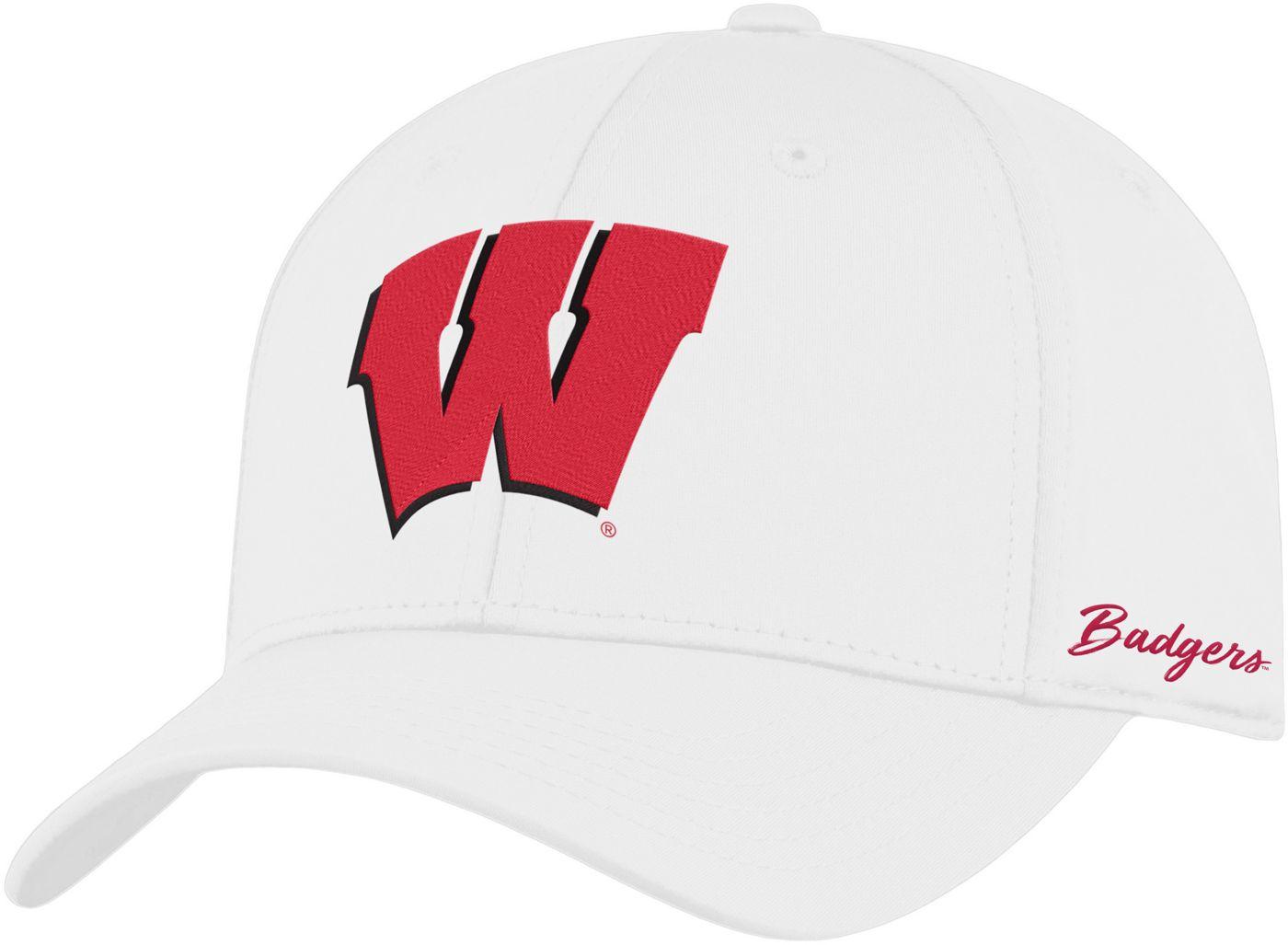 Top of the World Men's Wisconsin Badgers Phenom 1Fit Flex White Hat