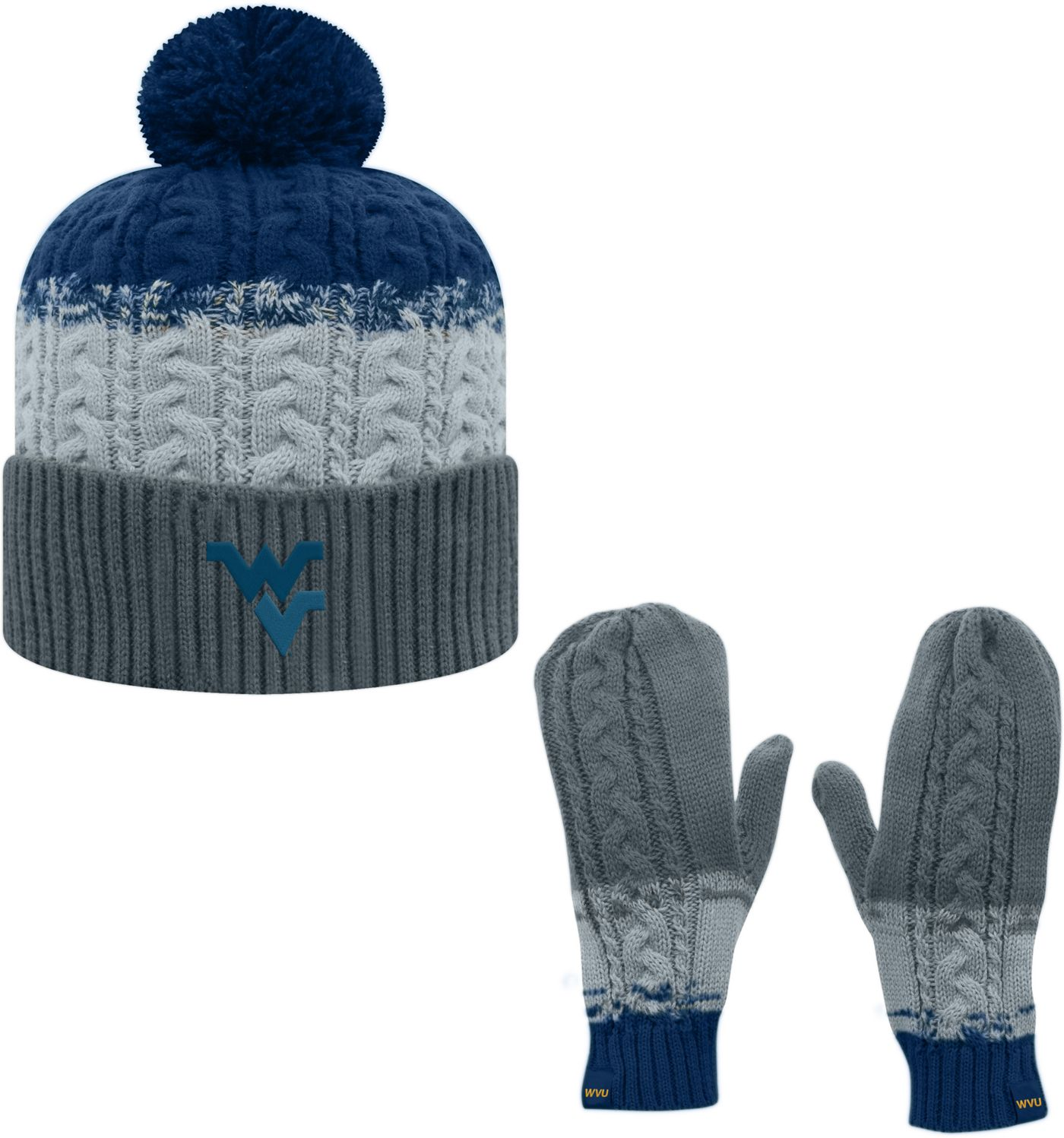 Top of the World Youth West Virginia Mountaineers Blue Disperse Beanie and Gloves Set