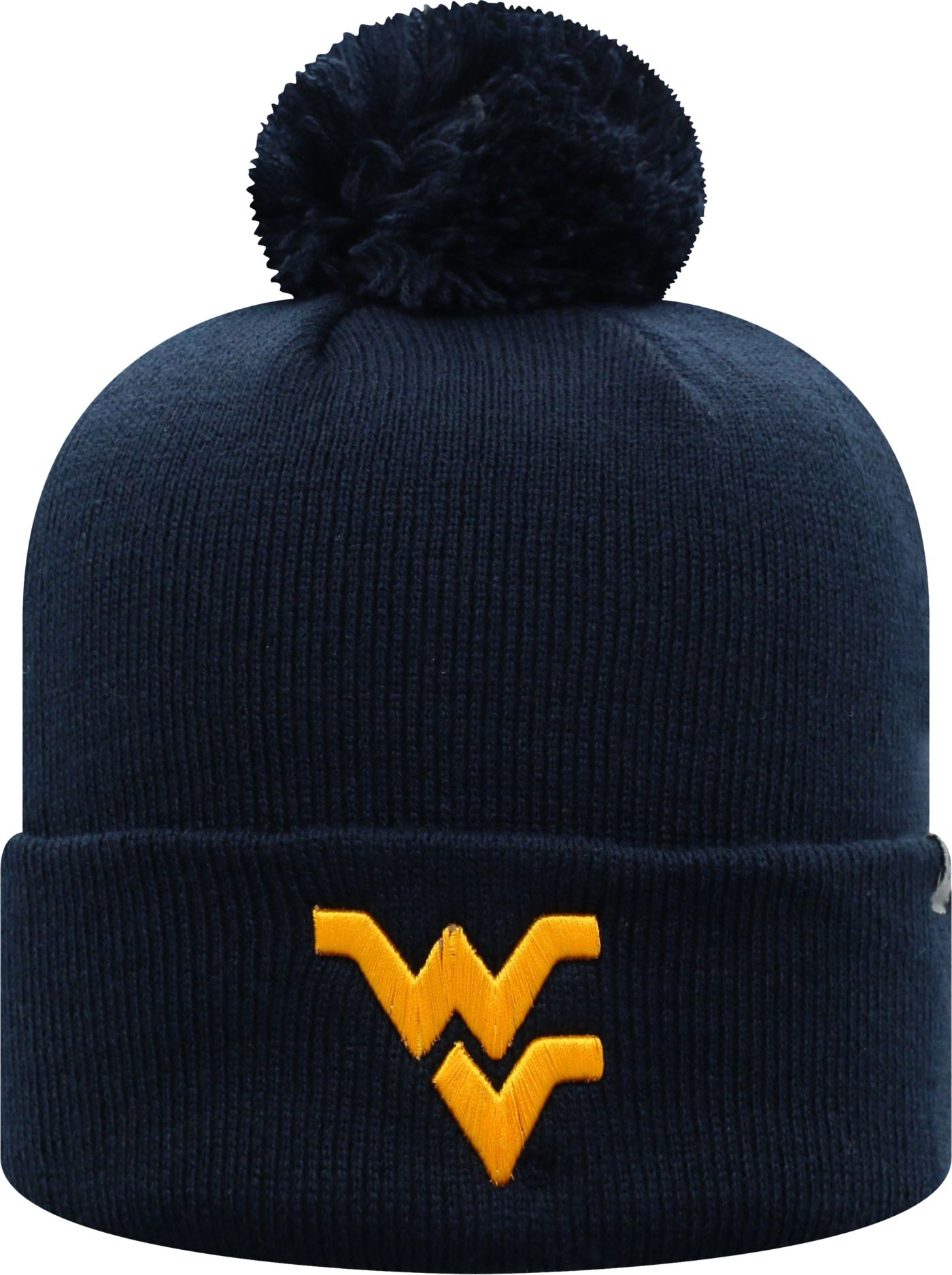 Top of the World Men's West Virginia Mountaineers Blue Pom Knit Beanie