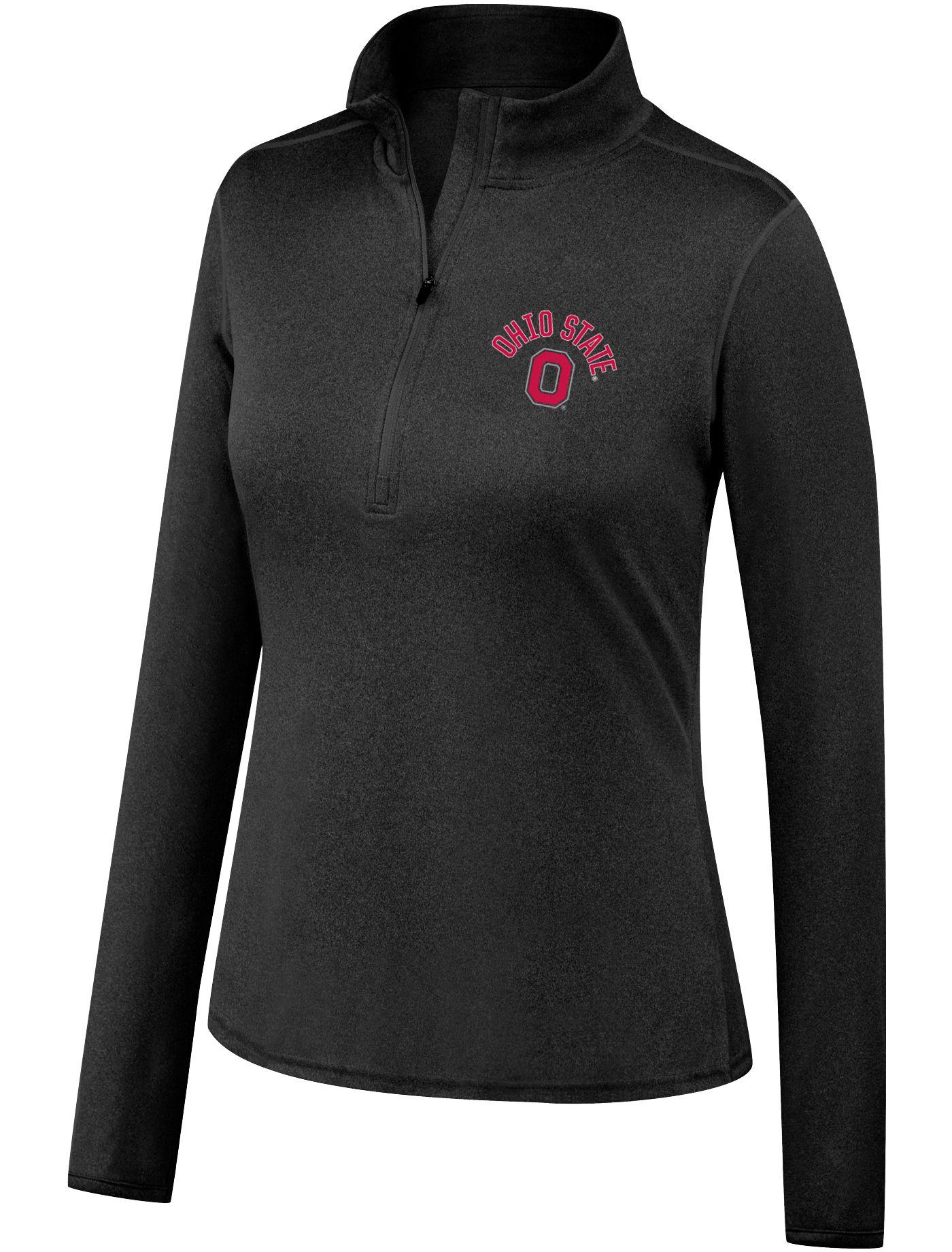 Scarlet & Gray Women's Ohio State Buckeyes Quarter-Zip Black Shirt