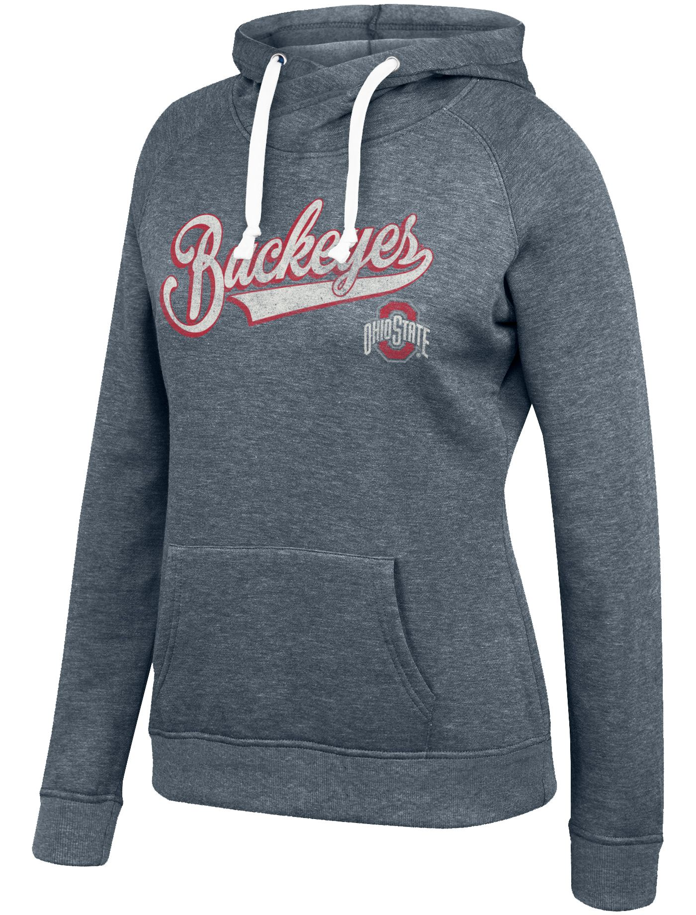 Scarlet & Gray Women's Ohio State Buckeyes Gray Tri-Blend Fleece Cross Hoodie