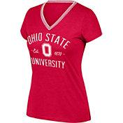 Scarlet & Gray Women's Ohio State Buckeyes Scarlet Venice II V-Neck T-Shirt