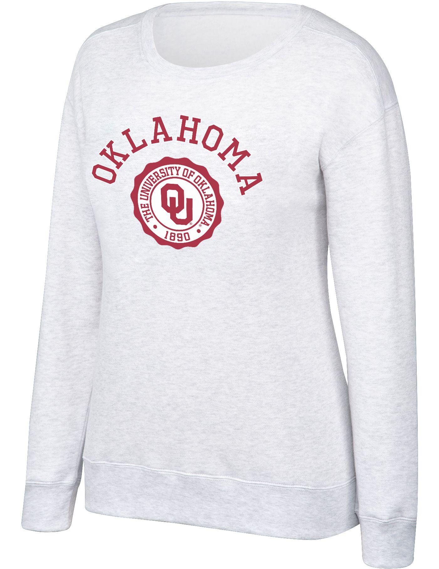 Top of the World Women's Oklahoma Sooners Grey Essential Crew Neck Sweatshirt