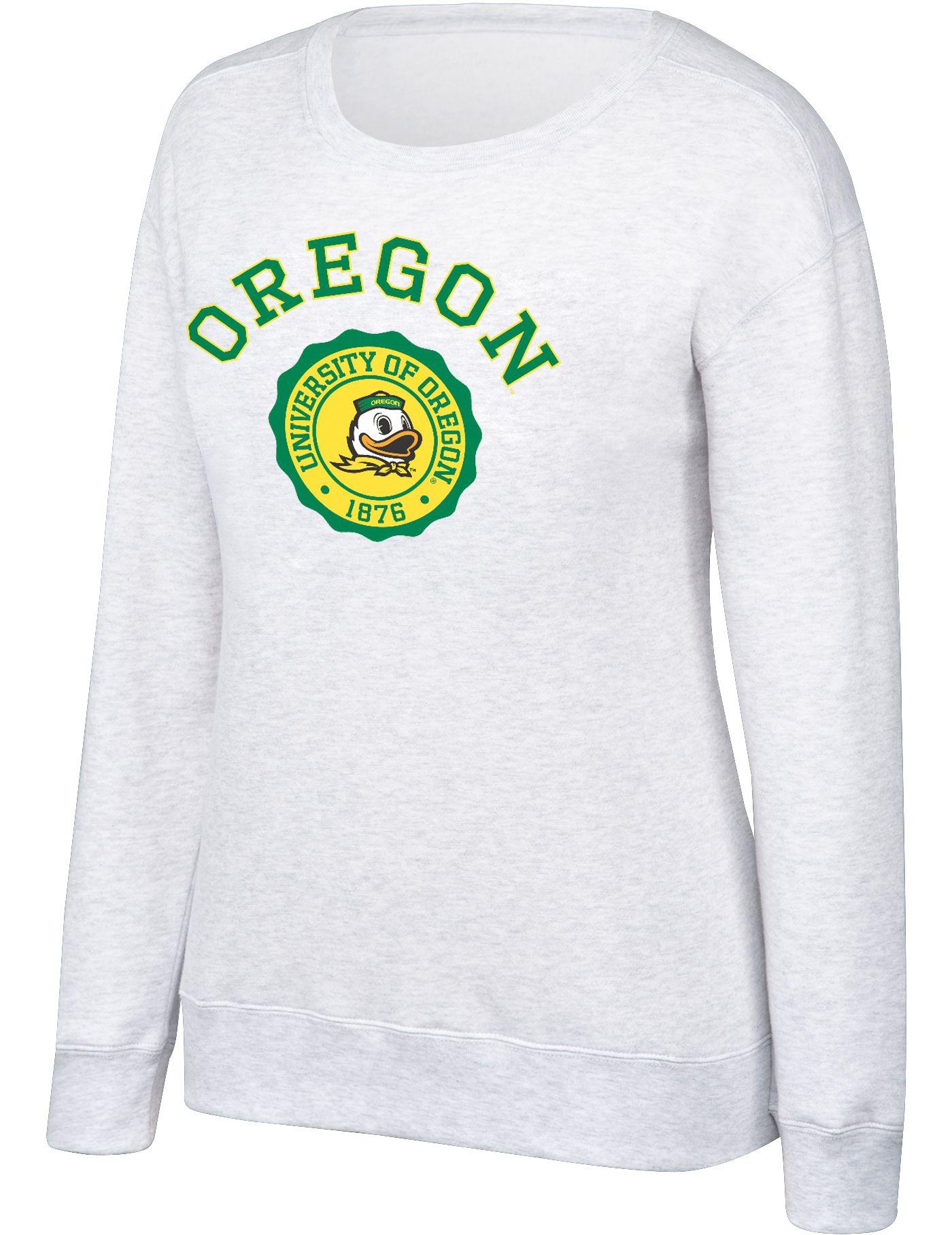 Top of the World Women's Oregon Ducks Grey Essential Crew Neck Sweatshirt