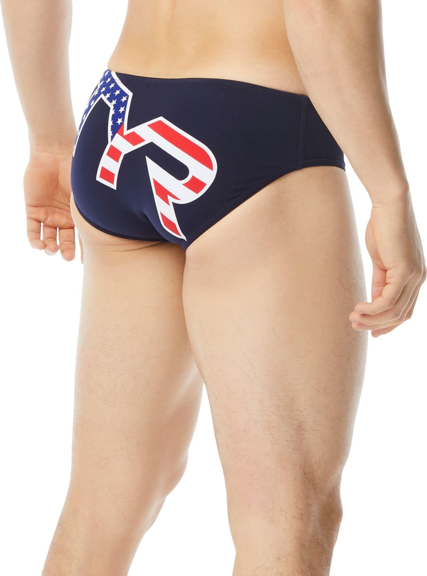 TYR Men's Big Logo USA Racer Swim Brief