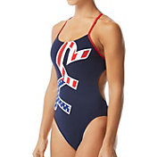 TYR Women's Big Logo USA Cutoutfit One Piece Swimsuit