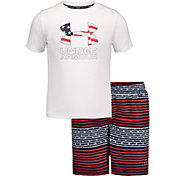 Under Armour Boys' Free Gradient Stripe Volley T-Shirt and Board Shorts 2-Piece Set