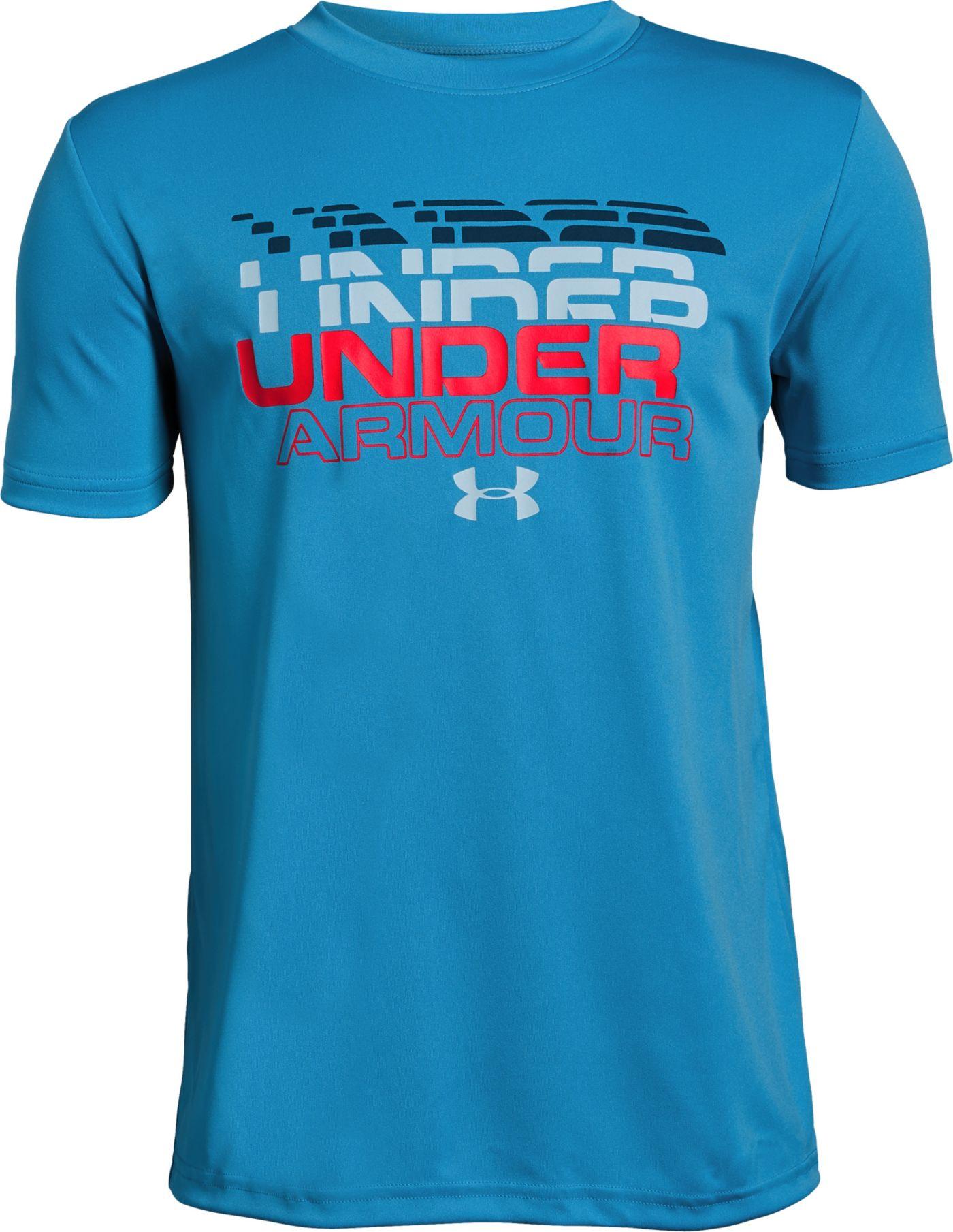Under Armour Boy's Stepped Wordmark T-Shirt