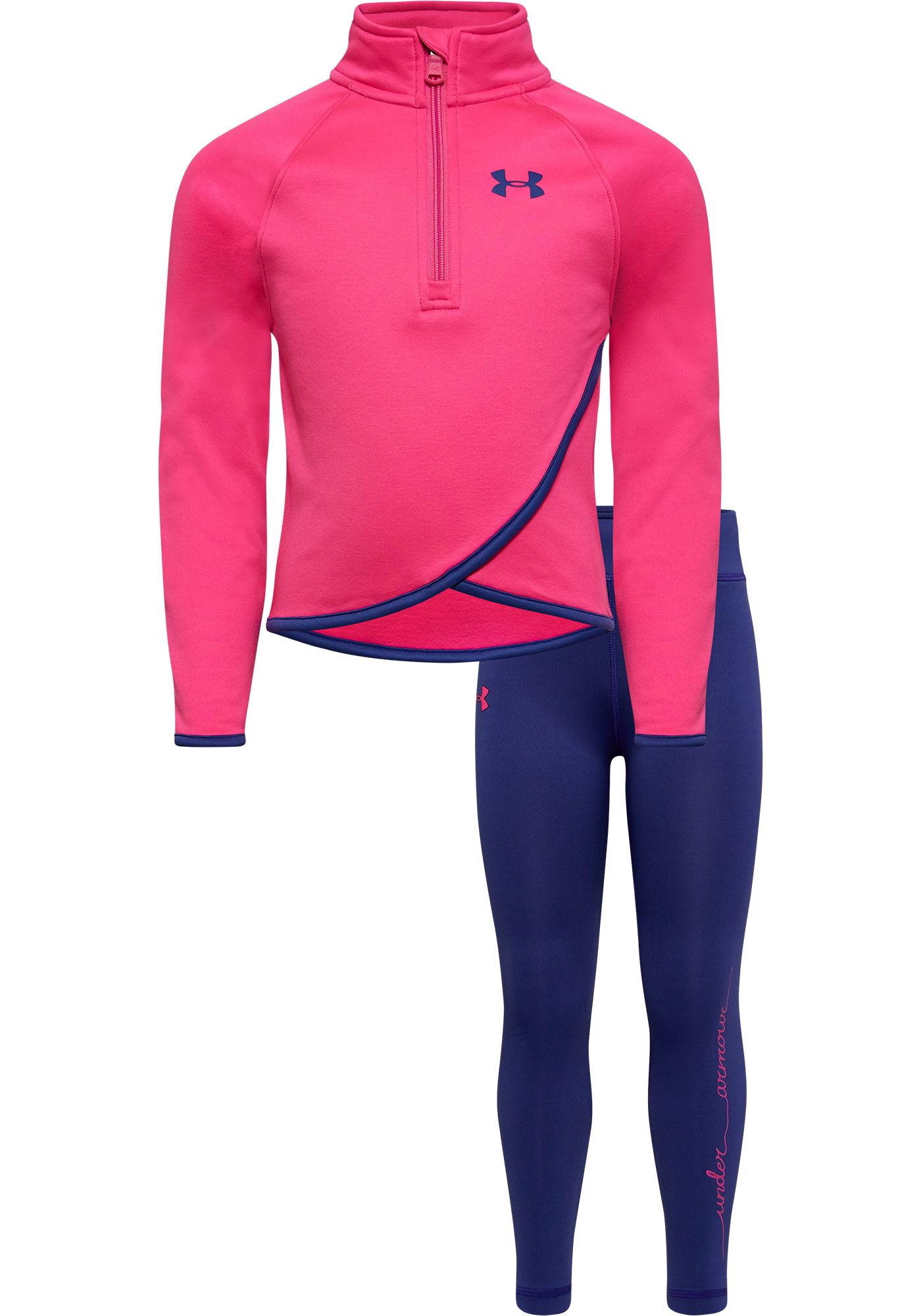 Under Armour Little Girls' Crossover 1/4 Zip Long Sleeve Shirt and Leggings Set
