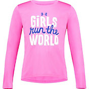 Under Armour Little Girls' Run The World Graphic Long Sleeve Shirt