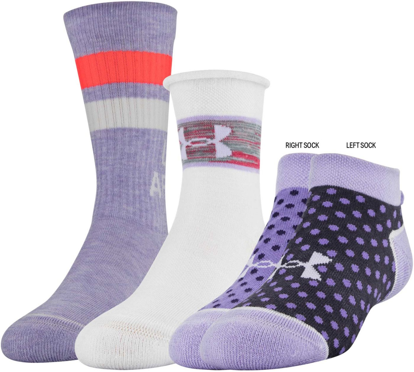 Under Armour Girls' Triple Play Assorted Silo Socks – 3 Pack