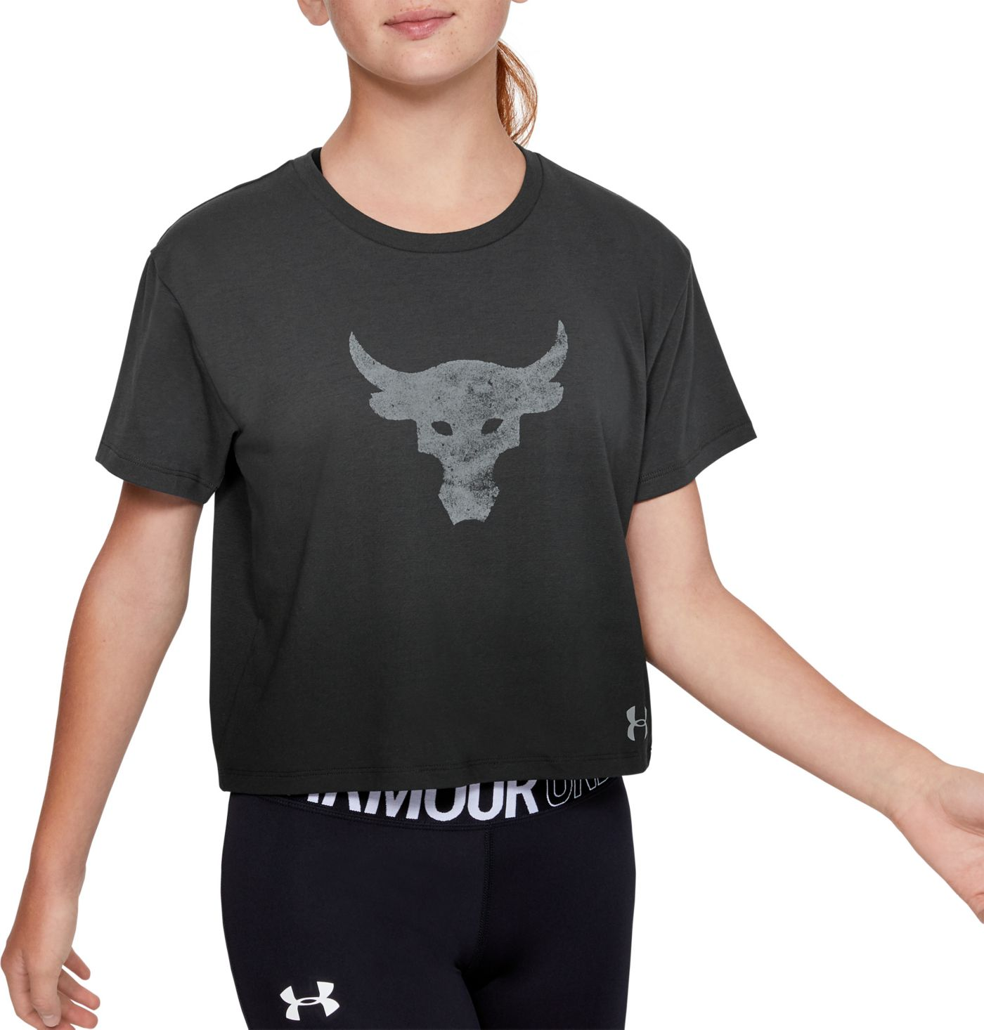 Under Armour Girls' Project Rock Graphic Cropped T-Shirt