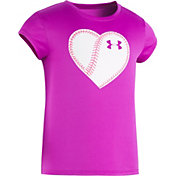 Under Armour Little Girls' Softball Heart Graphic T-Shirt