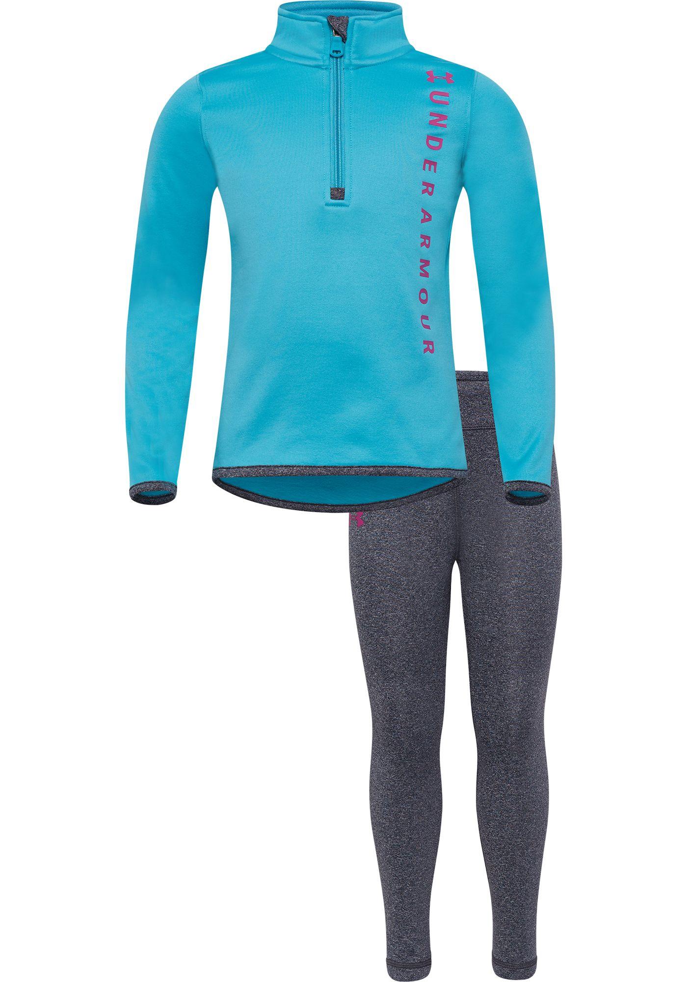 Under Armour Little Girls' Vertical Wordmark 1/4 Zip Long Sleeve Shirt and Leggings Set