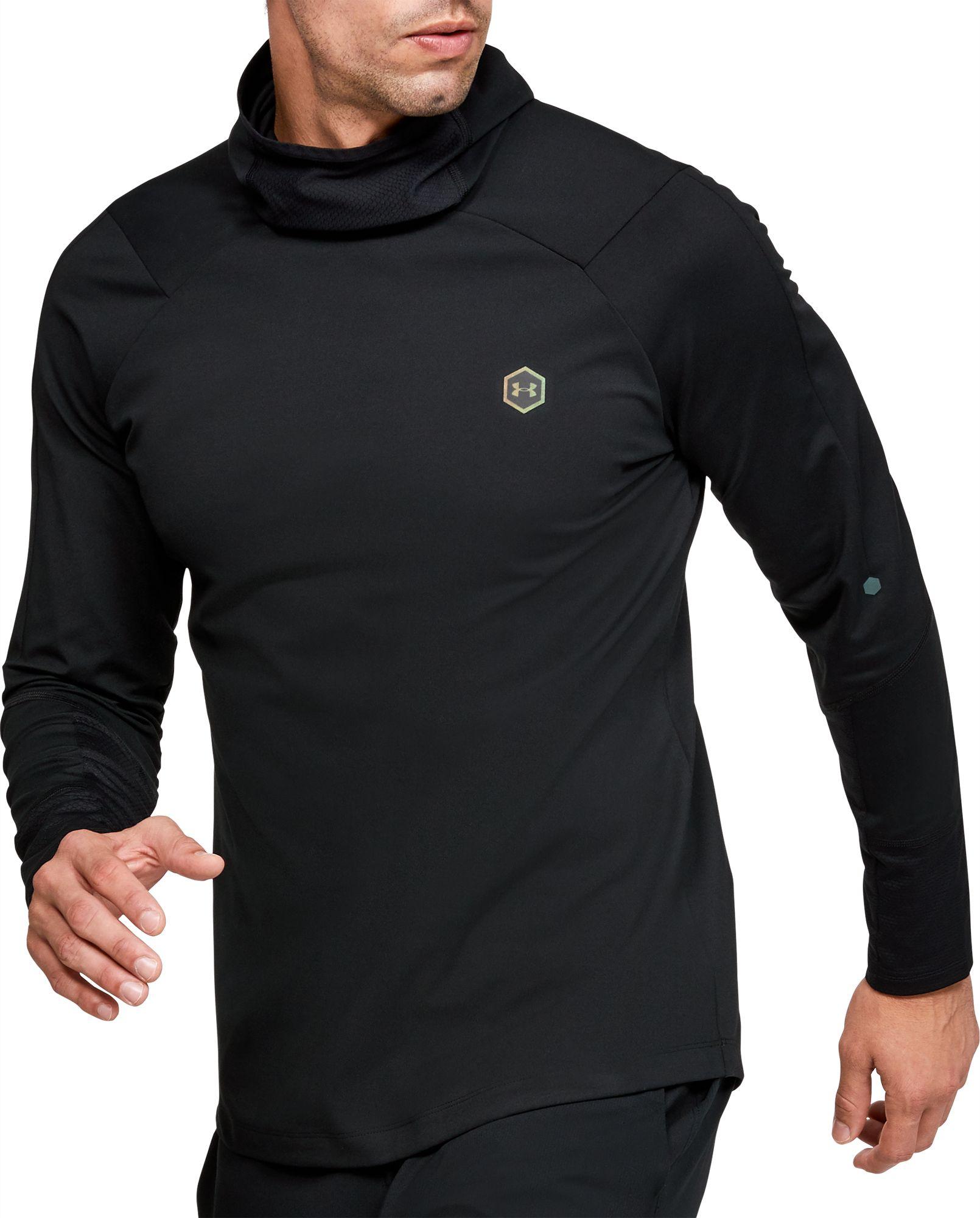 Under Armour Men's ColdGear RUSH Hooded Long Sleeve Shirt, Size: Small, Black thumbnail