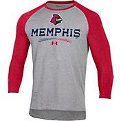 Under Armour Men's Memphis Redbirds Red Raglan Three-Quarter Sleeve T-Shirt