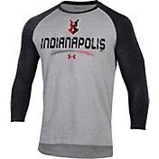 Under Armour Men's Indianapolis Indians Black Raglan Three-Quarter Sleeve T-Shirt