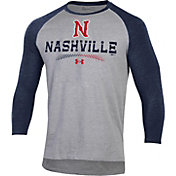 Under Armour Men's Nashville Sounds Navy Raglan Three-Quarter Sleeve T-Shirt