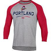 Under Armour Men's Portland Sea Dogs Red Raglan Three-Quarter Sleeve T-Shirt