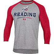 Under Armour Men's Reading Fightin Phils Red Raglan Three-Quarter Sleeve T-Shirt