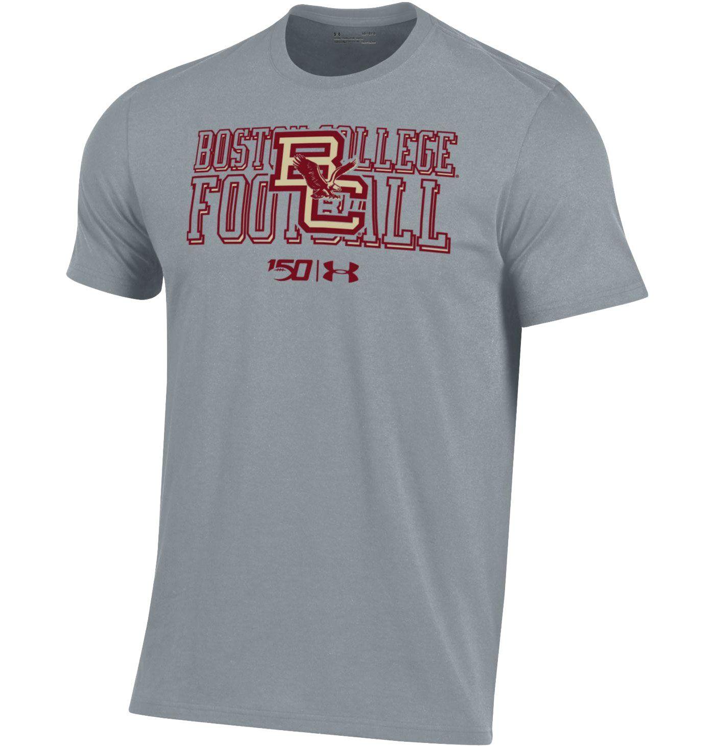 Under Armour Men's Boston College Eagles Grey 'CFB150' Performance Cotton Football T-Shirt