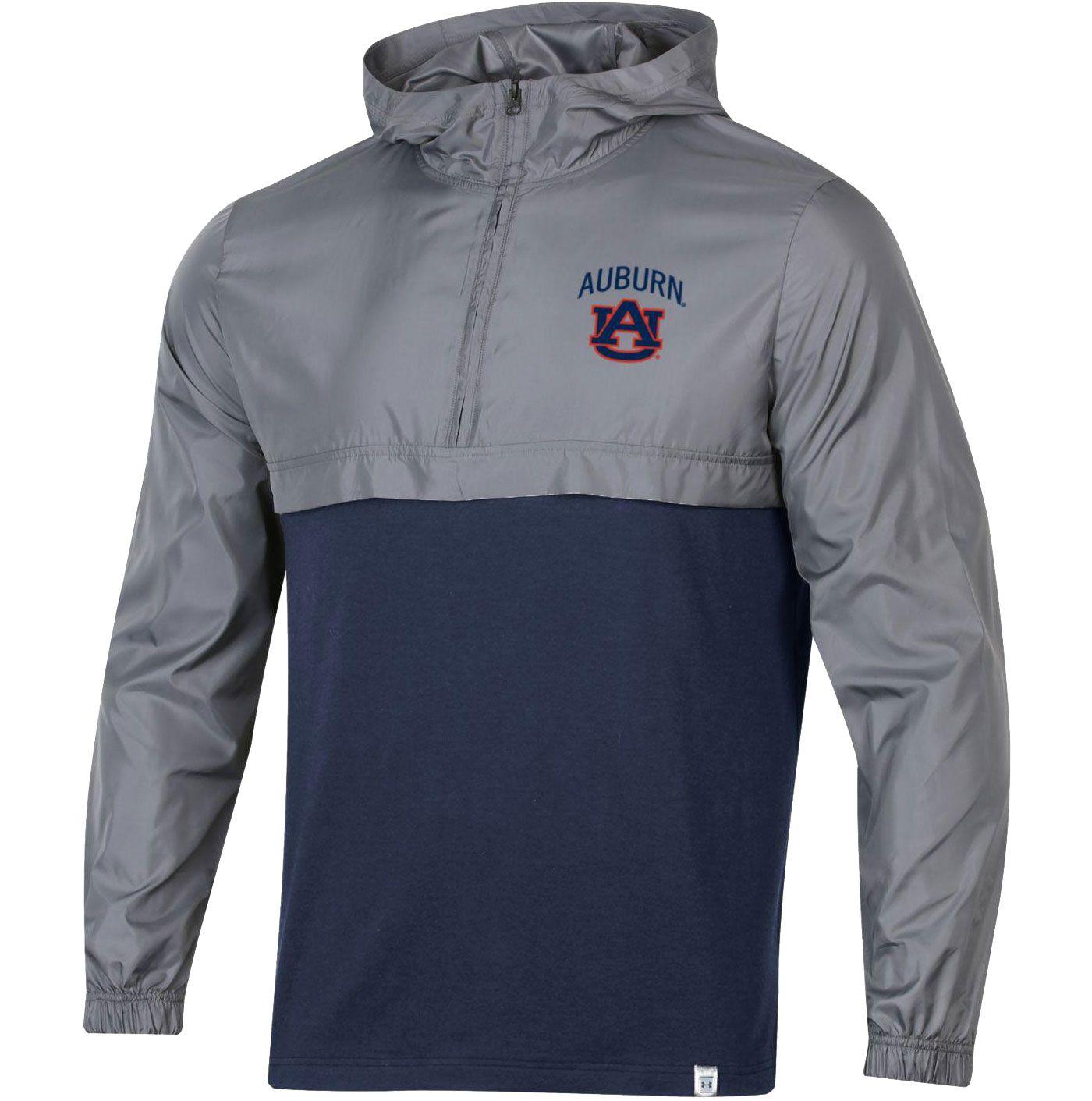 Under Armour Men's Auburn Tigers Grey Sportstyle Woven Quarter-Zip Jacket