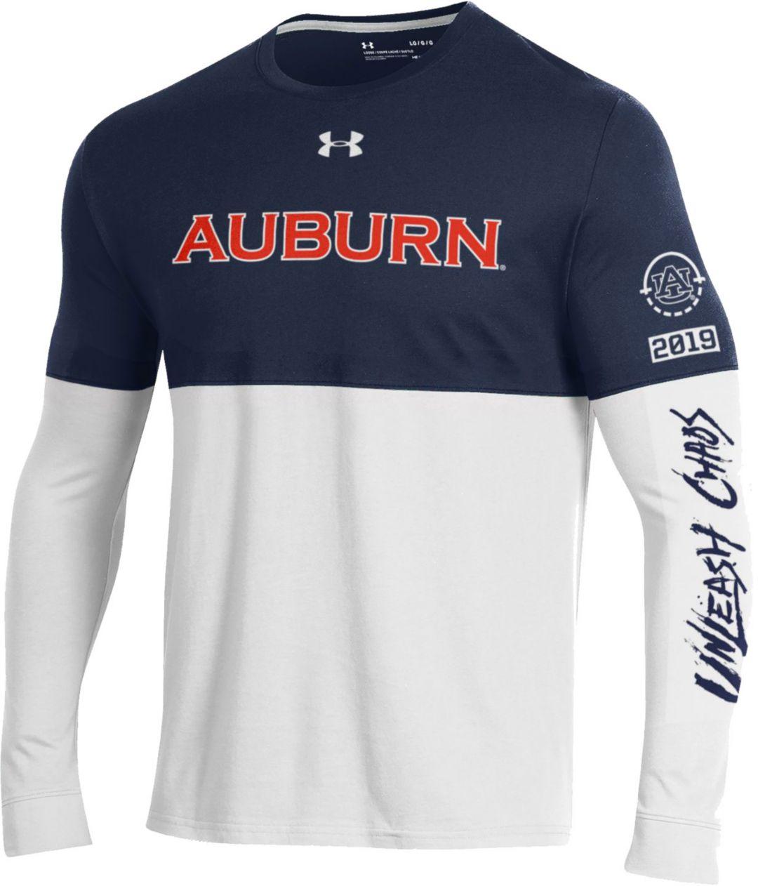 buy online 852c2 b658b Under Armour Men's Auburn Tigers Blue/White 'Unleash Chaos' Bench Long  Sleeve Basketball T-Shirt