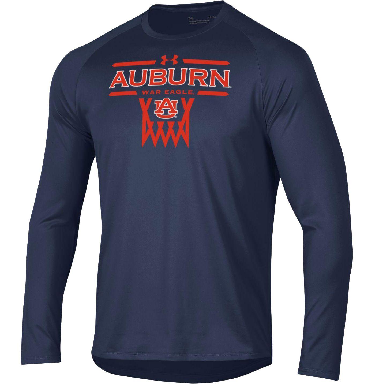 Under Armour Men's Auburn Tigers Blue On-Court Tech Performance Long Sleeve Basketball T-Shirt