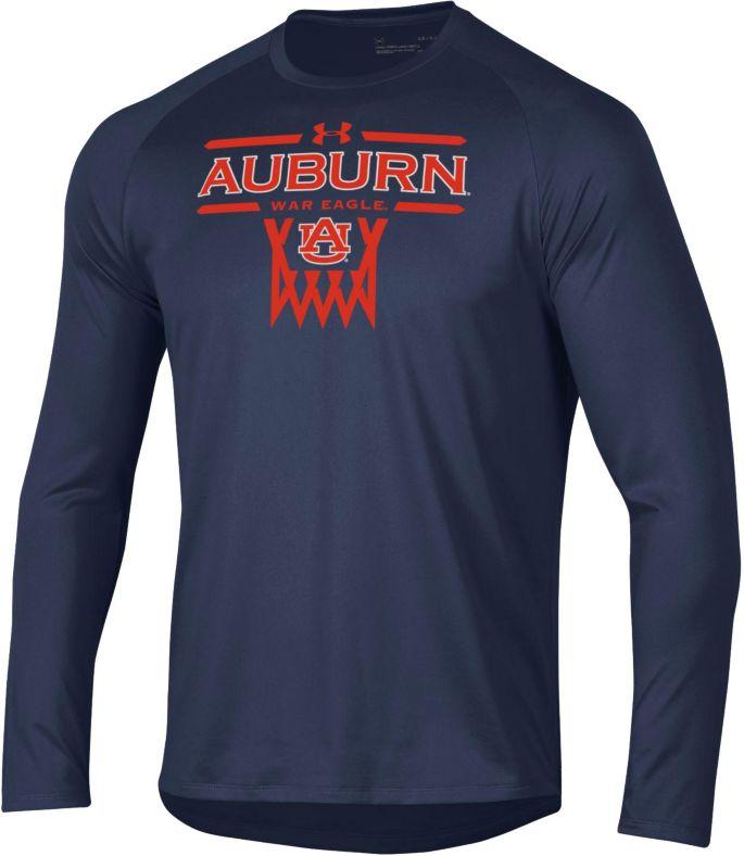 Under Armour Men S Auburn Tigers Blue On Court Tech Performance Long Sleeve Basketball T Shirt