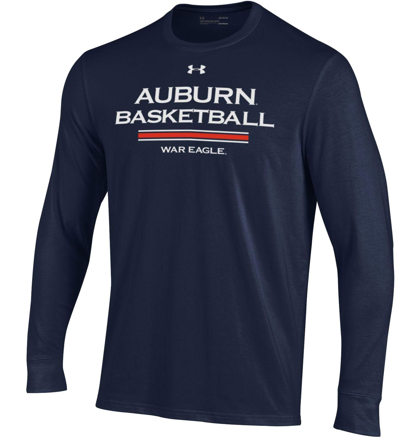 Under Armour Men's Auburn Tigers Blue On-Court Performance Cotton Long Sleeve Basketball T-Shirt