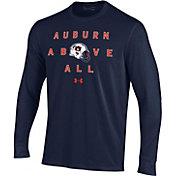 Under Armour Men's Auburn Tigers Blue Performance Cotton Long Sleeve Football T-Shirt