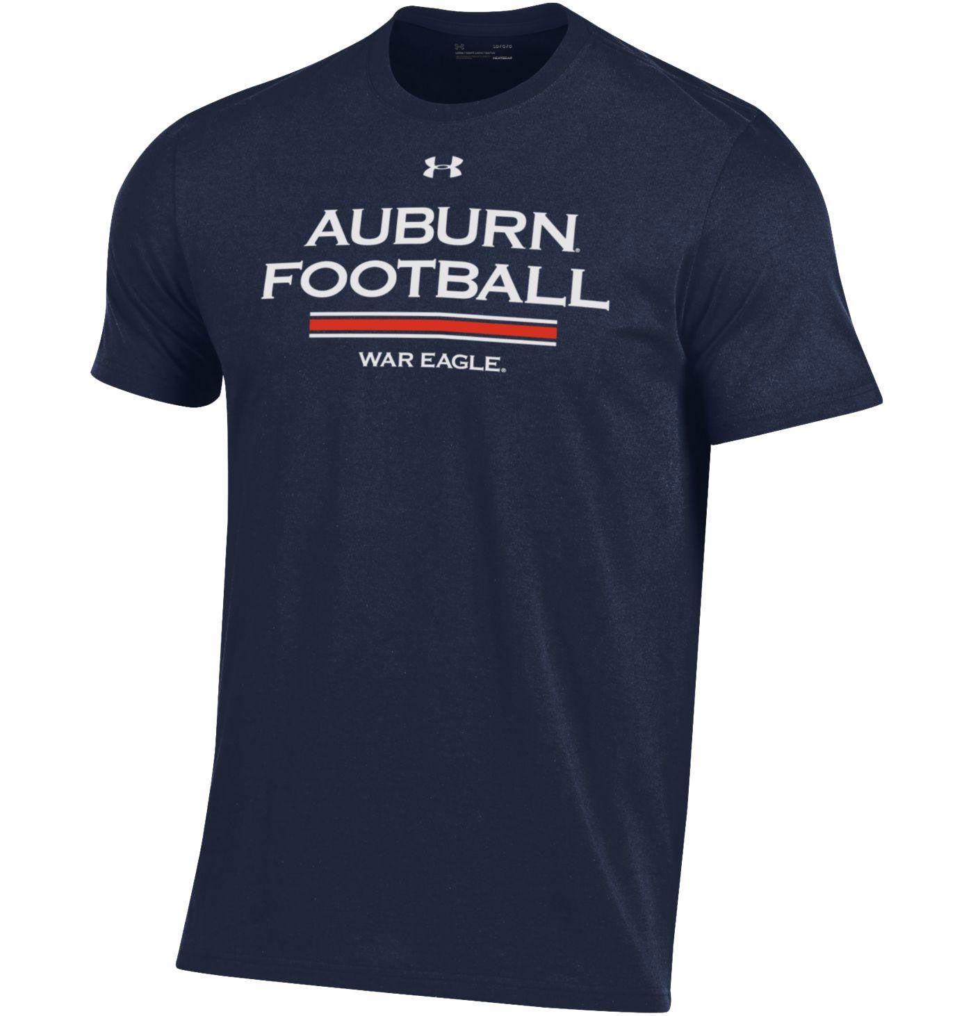 Under Armour Men's Auburn Tigers Blue Football Performance Cotton T-Shirt